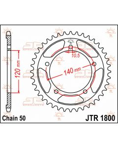 JT Sprockets Rear 40T 50 - JTR1800.40