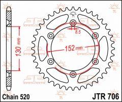 JT Sprockets Rear 46T 520 - JTR706.46