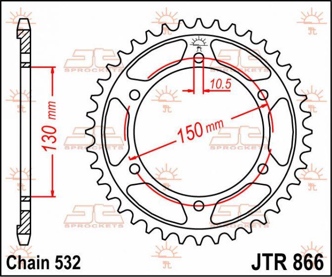 JT Rear Sprocket 38T 532P JTR866.38 Steel Yamaha XJR 1200 1998