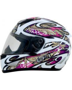 AFX FX-95 Full Face Helmet Dfly Gloss White/Gold/Pink