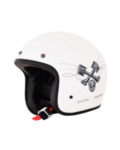 AFX FX-76 Vintage Jet Helmet Raceway Matte White/Gray