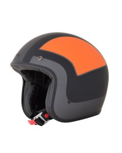 AFX FX-76 Vintage Jet Helmet Tricolor Matte Frost Gray/Orange/Black