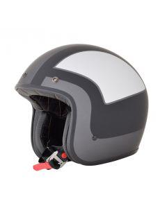 AFX FX-76 Vintage Jet Helmet Tricolor Matte Frost Gray/Silver/Black