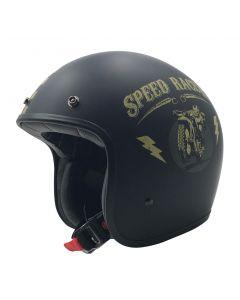 AFX FX-76 Vintage Jet Helmet Speed Racer Matte Black/Gold