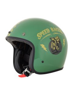 AFX FX-76 Vintage Jet Helmet Speed Racer Gloss Dark Green/Gold