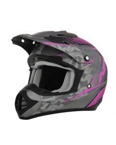 AFX FX-17 Offroad Helmet Factor Flat Gray/Black/Pink