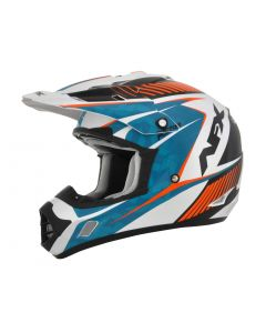 AFX FX-17YE Offroad Helmet Factor Complex Gloss Pearl White/Light Blue/Orange
