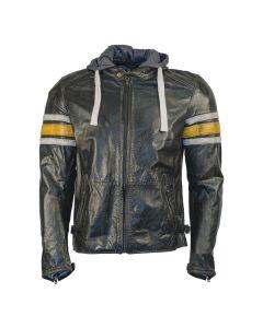 Richa Toulon Mens Leather Long Sleeve Jacket Black/Yellow 36
