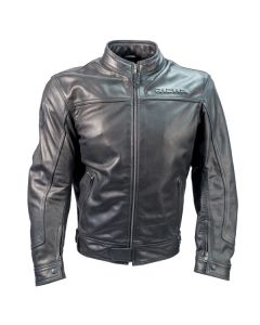 Richa Café Mens Leather Long Sleeve Jacket Black