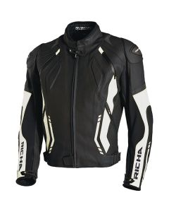 Richa Mugello Mens Leather Long Sleeve Jacket Black/White