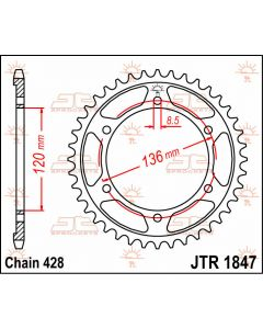 JT Sprockets Rear 55T 428 - JTR1847.55