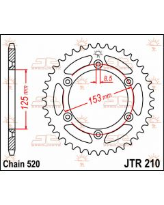 JT Sprockets Rear 38T 520 - JTR210.38
