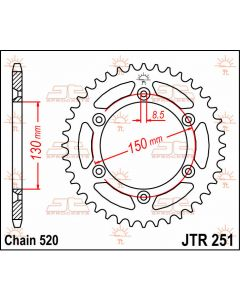 JT Sprockets Rear 51T 520 - JTR251.51