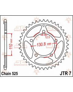 JT Sprockets Rear 44T 525 - JTR7.44