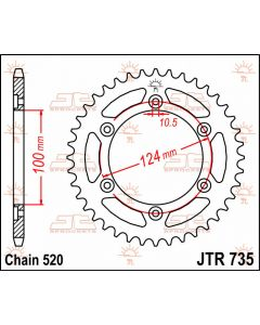 JT Sprockets Rear 42T 520 - JTR735.42