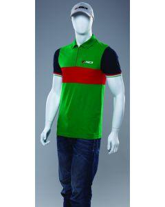 Sidi Cotton Casuals Zipper Polo Shirt Green/Red L