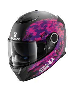Shark Spartan Helmet Rughed Matt Black/Violet/Violet