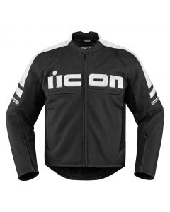 ICON Motorhead 2 Leather Relaxed Fit Jacket Black / White