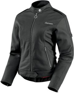 ICON Hella Ladies Leather Sport Fit Jacket Black