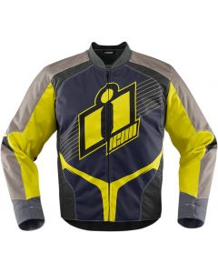 ICON Overlord Textile Attack Fit Jacket Hi-Viz Yellow