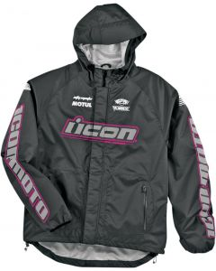 ICON PDX Ladies Textile Relaxed Fit Jacket Black  Pink