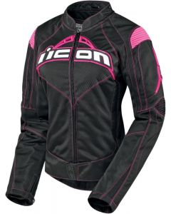 ICON Contra Ladies Textile Sport Fit Jacket Black | Pink