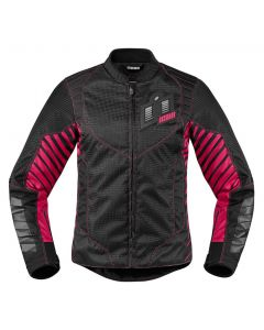 ICON Wireform Ladies Textile Sport Fit Jacket Black / Gray /Pink