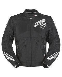Furygan Hurricane Mens Leather Long Sleeve Jacket Black/White